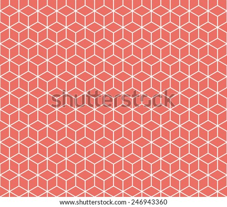 Seamless red isometric cubes pattern vector - stock vector