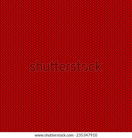 Seamless red knitted flat vector background. - stock vector