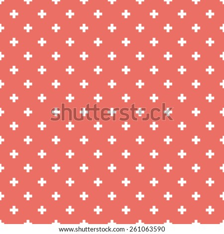 Seamless red op art plus cross symbol pattern vector - stock vector