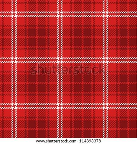 Seamless red tartan - stock vector