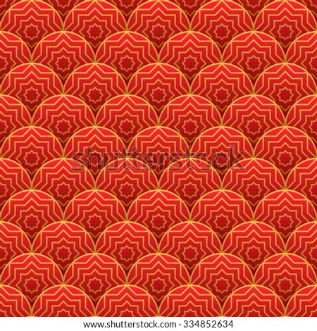Seamless red traditional pattern. Vector illustration - stock vector