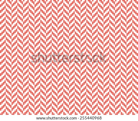 Seamless red vintage pixel herringbone pattern vector - stock vector