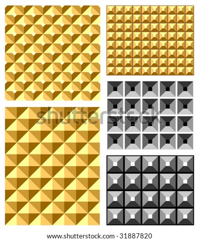 Seamless relief patterns. Vector set. - stock vector