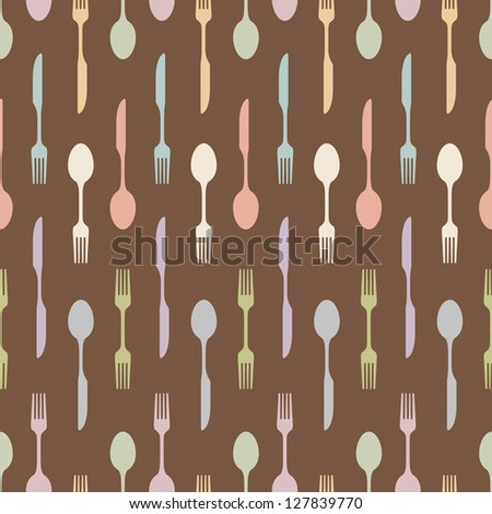 seamless repeat pattern background of cutlery with knife fork and spoon - stock vector