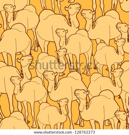 Seamless repeat pattern of a herd of camels. AI10 EPS background