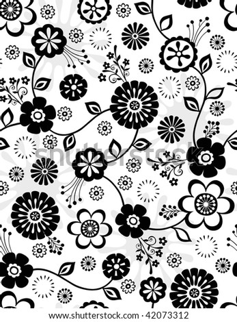 Seamless Repeat Pattern of Cute Flowers- Vector Illustration Wallpaper - stock vector