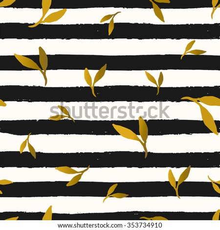 Seamless repeat pattern with gold foil leaves on black and white stripes background. Tiling festive background, greeting card or wrapping paper. - stock vector