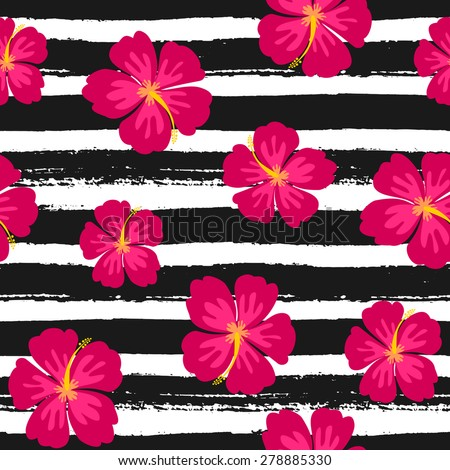 Seamless repeat pattern with hibiscus flowers on a black and white hand drawn brush strokes background. - stock vector