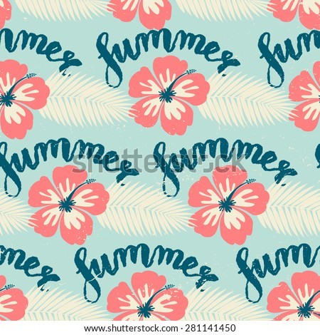 Seamless repeat pattern with pale red hibiscus flowers and white palm leaves on blue background. Hand lettered text design. - stock vector