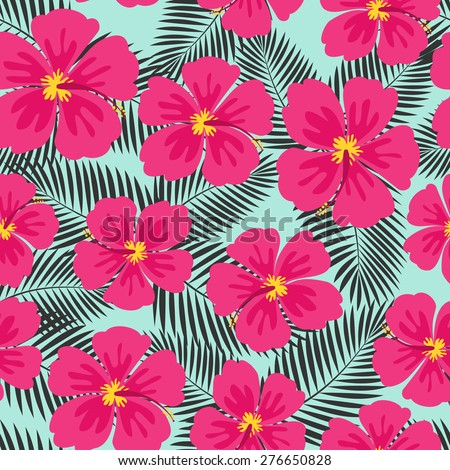 Seamless repeat pattern with pink hibiscus flowers and dark gray palm leaves on blue background. - stock vector