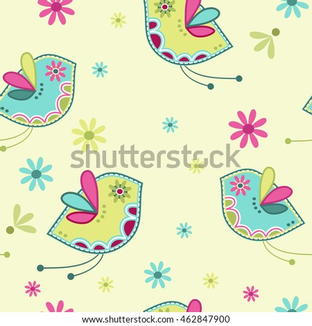Seamless repeatable pattern with birds