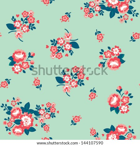 Seamless Repeating Background - Ditsy Roses - stock vector