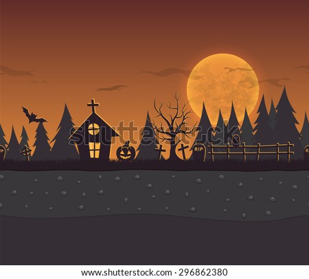 Seamless repeating cartoon background for halloween. Vector unending background with forest, owl, grave, pumpkin, house and the moon.