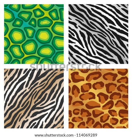 Seamless repeating colorful animal print backgrounds illustrations