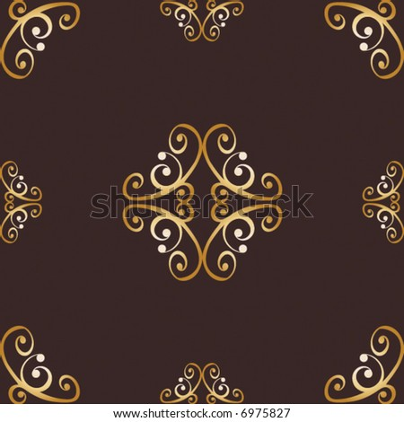 Seamless, repeating gold and brown design background