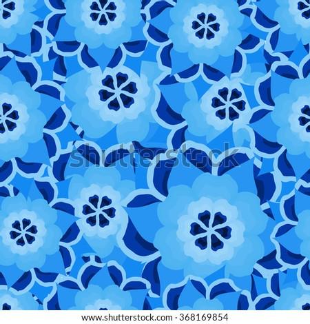 Seamless repeating pattern of abstract flowers.Vector