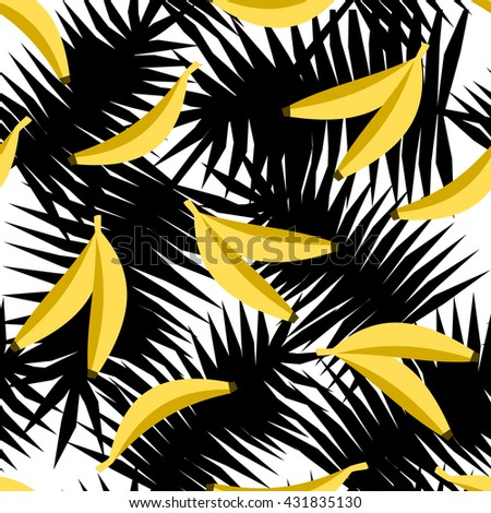 Seamless repeating pattern with bananas on black and white palm leaves background. Modern textile, greeting card, poster, wrapping paper designs. - stock vector