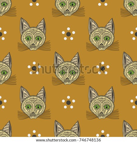 Seamless Repeating Pattern With Funny Cats Faces And Simple Floral Motifs Based On Old Russian