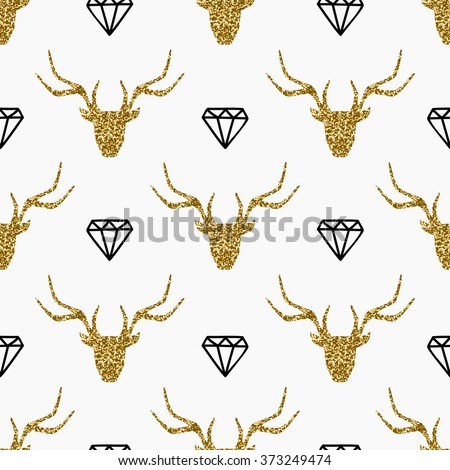 Seamless repeating pattern with gold glitter deer heads and black diamonds on white background. - stock vector