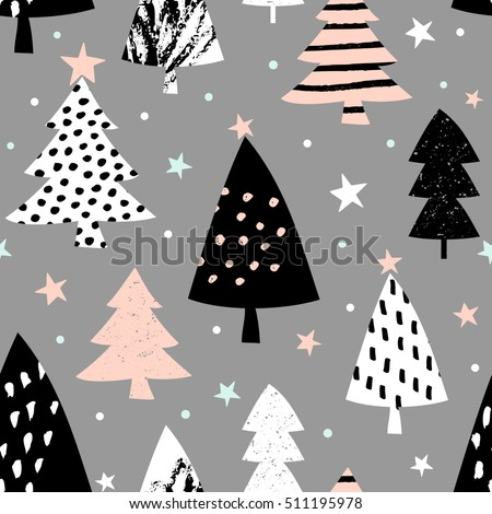 Seamless repeating pattern with textured Christmas trees in black, pastel pink and white on gray background. Modern and original festive textile, gift wrap, wall art design.