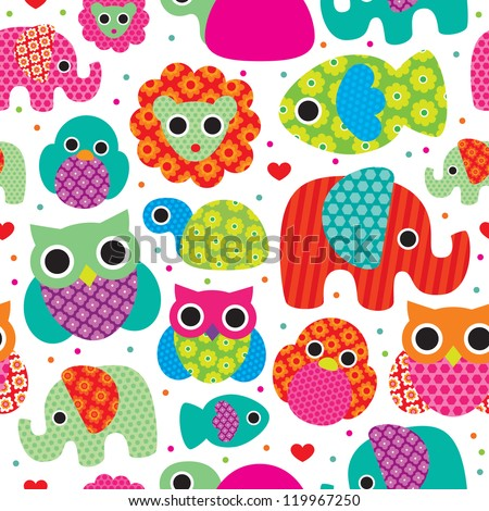 Seamless retro animals kids pattern wallpaper background in vector - stock vector