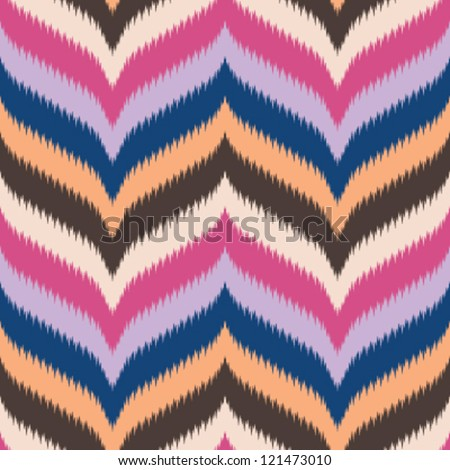 Seamless retro background, curved and pointed chevron in ikat weave pattern - stock vector