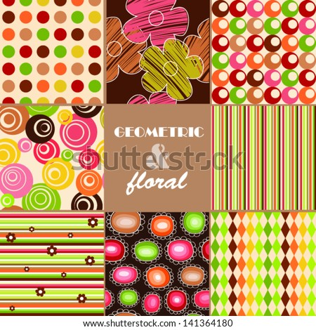 Seamless retro background - set of eight floral and geometric patterns - stock vector