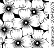 Seamless retro black and white ornamental pattern with flowers, vector illustration - stock photo