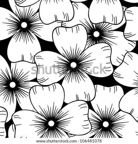 Seamless retro black and white ornamental pattern with flowers, vector illustration - stock vector