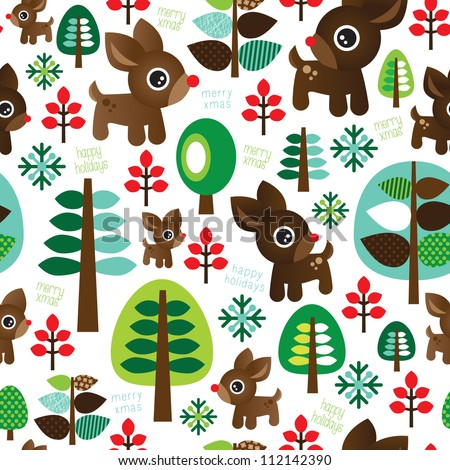 Seamless retro christmas decoration reindeer tree background pattern in vector - stock vector