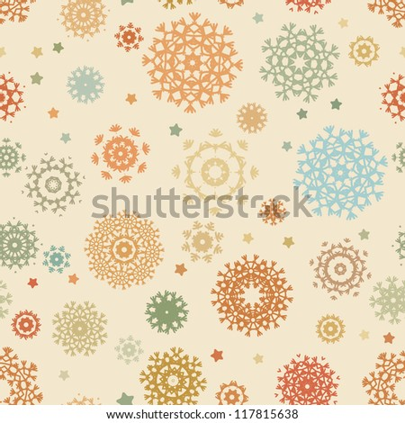 Seamless retro christmas pattern with colorful snowflakes. And also includes EPS 8 vector - stock vector