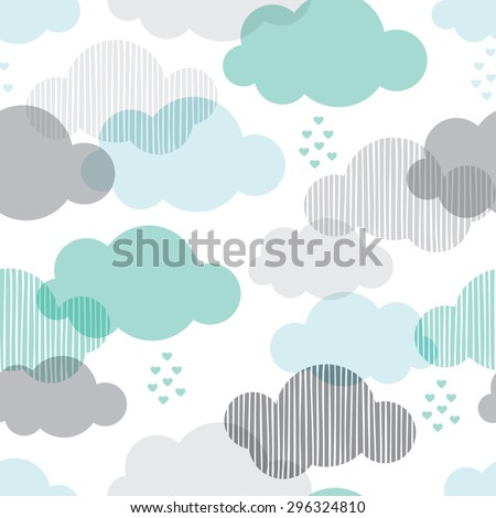 Seamless retro clouds and rain in the sky illustration blue scandinavian style background pattern in vector - stock vector