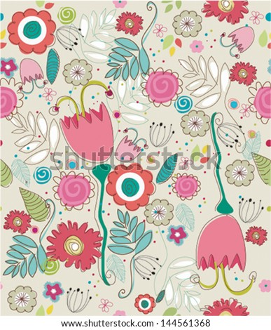Seamless retro colourfull flower pattern in vector - stock vector