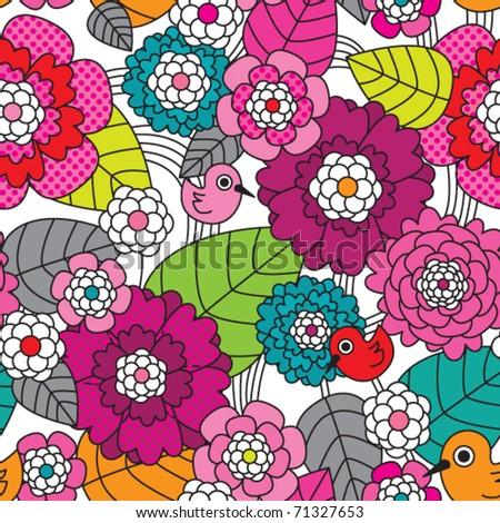 Seamless retro colourfull flower pattern in vector - stock vector
