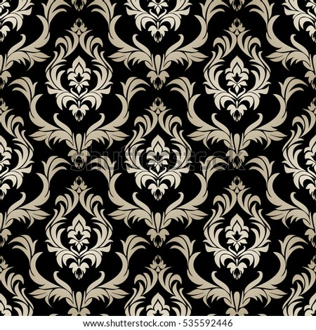 Seamless Retro Damask Wallpaper Silver Floral Stock Vector