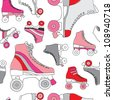 Seamless retro disco roller skates derby background pattern in vector - stock vector