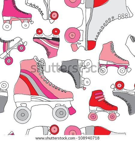 Seamless retro disco roller skates derby background pattern in vector - stock vector
