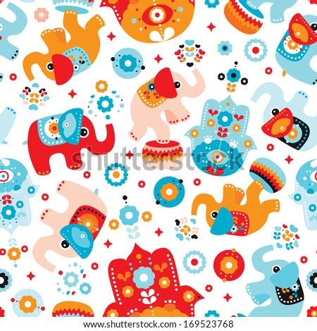 Seamless retro elephant kids illustration with arabic hamsa details pattern wallpaper background in vector  - stock vector