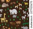Seamless retro fifties african zoo animals pattern - stock vector