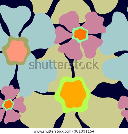 Seamless retro floral pattern. 1960s collection. Abstract vector background. Blue, purple, grey on dark blue. Backgrounds & textures shop. - stock vector