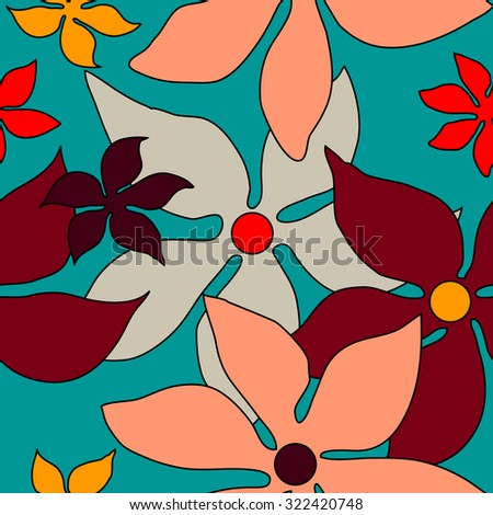 Seamless retro floral pattern. 1960s textile design collection. Yellow, pink, red, grey on blue. Backgrounds & textures shop. - stock vector