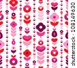 Seamless retro flower stripes background pattern in vector - stock vector