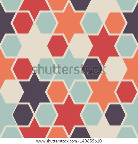 Seamless retro geometric hexagon and star pattern - stock vector
