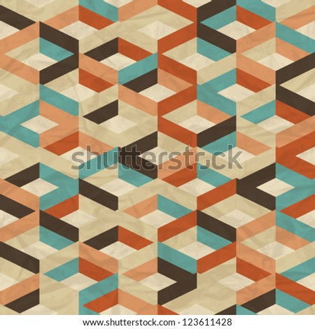 Seamless retro geometric pattern. - stock vector