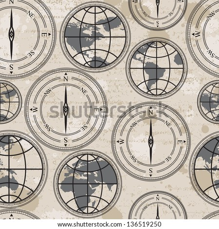 Seamless retro grunge background with globe and compass - stock vector