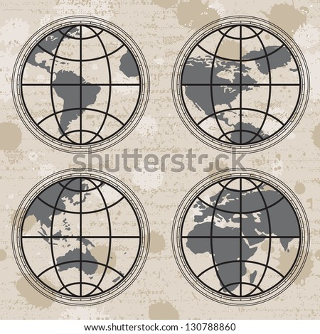 Seamless retro grunge background with globes stock vector