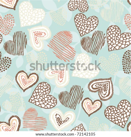 Seamless retro heart pattern - stock vector