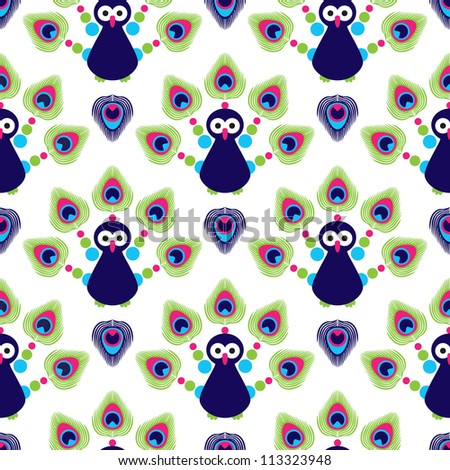 Seamless retro india exotic peacock kids background pattern in vector - stock vector