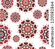 Seamless retro kaleidoscope flower background pattern - stock vector