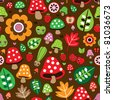 Seamless retro mushroom autumn deer pattern with apple illustration in vector - stock